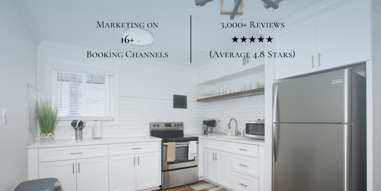 picture of a kitchen with 'Marketing on 16+ booking channels' and '3,000+ reviews (average 4.8 stars)' written on it